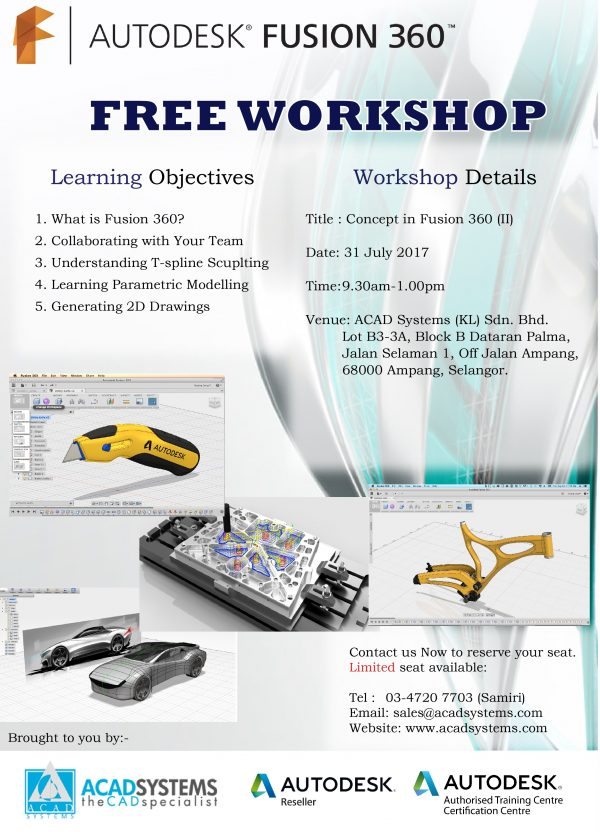 Free Workshop - Autodesk FUSION 360 - Acad Systems | Autodesk
