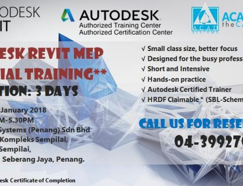 Revit MEP Essential Training on Jan 22-24,2018, please call @ 04-3992708 for reservation