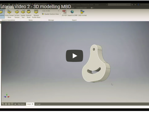Inventor Tutorial Video 2 – 3D modelling Model Based Definitions & Annotation