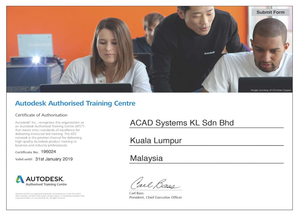 Acad Systems Autodesk Authorized Training Center Certificate 2019
