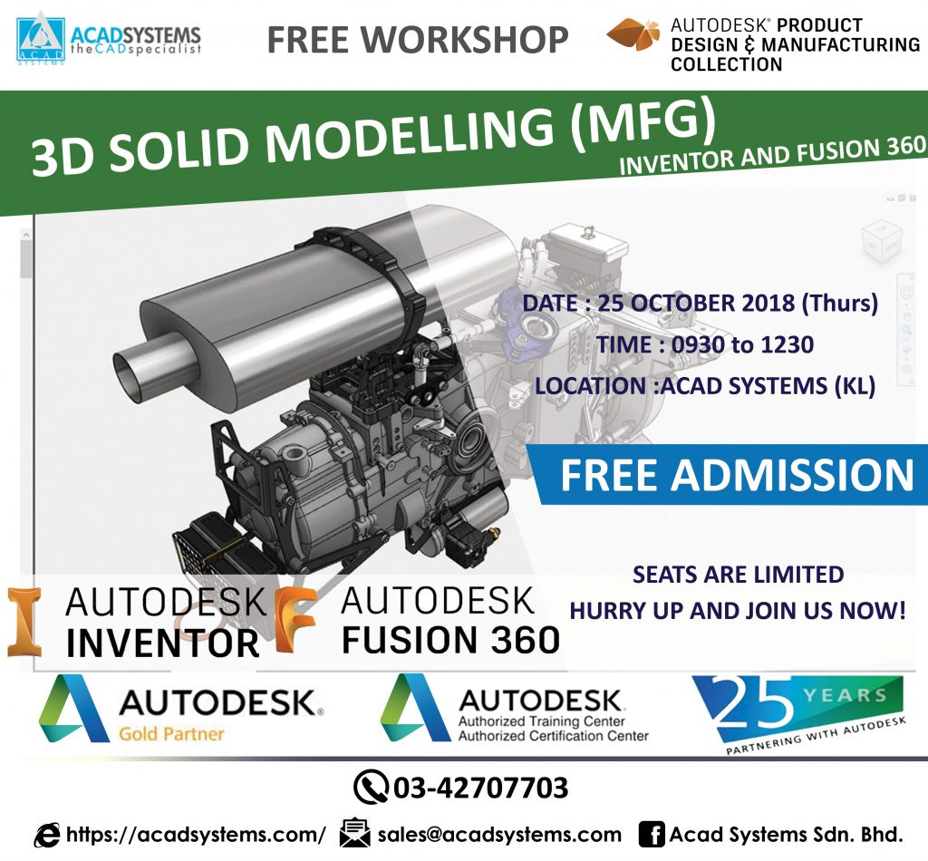 3D Solid Modeling with Autodesk Inventor & Fusion 360 Free Workshop