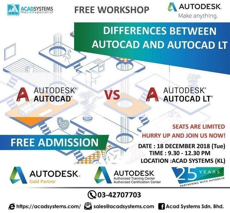 Differences between AutoCAD and AutoCAD LT workshop 18 dec 2018