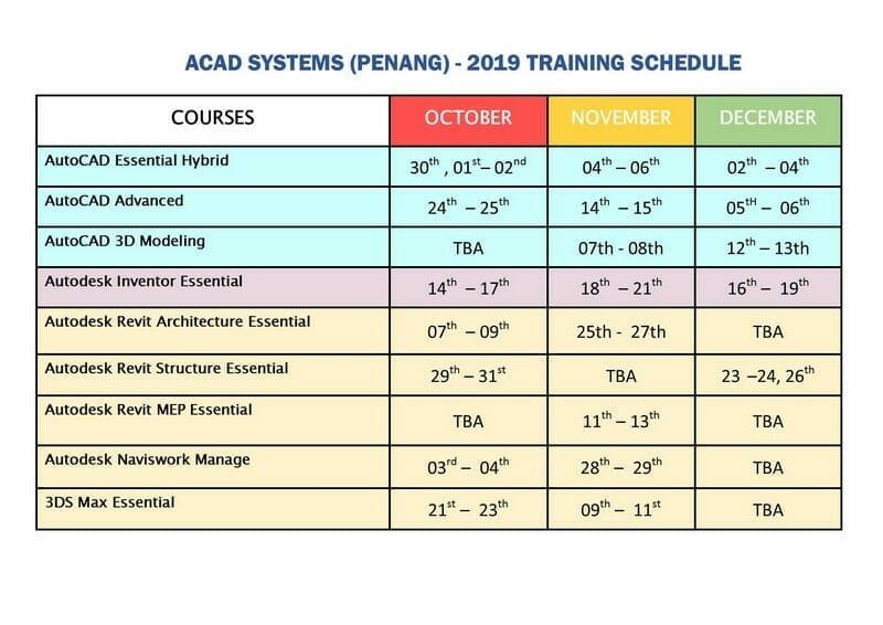 Acad Pg Training Schedule Oct to Dec 2019